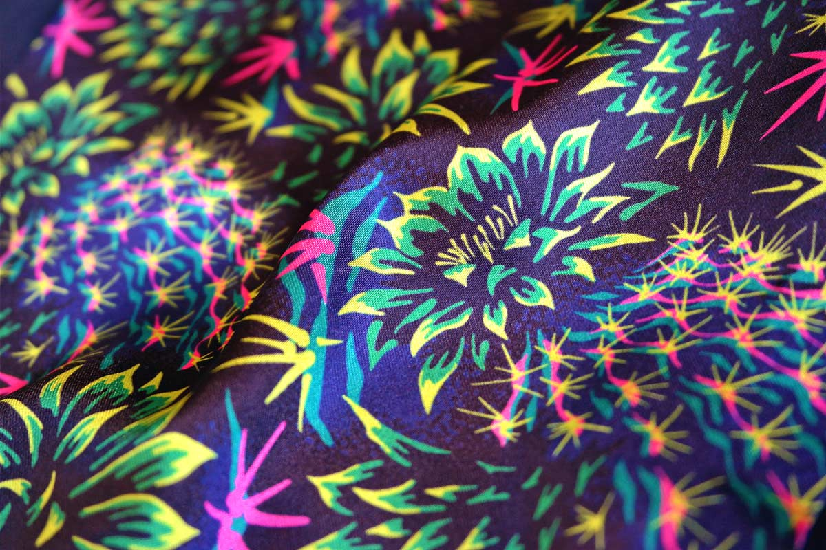 Cactus floral bright green satin fabric by Andrea Stark