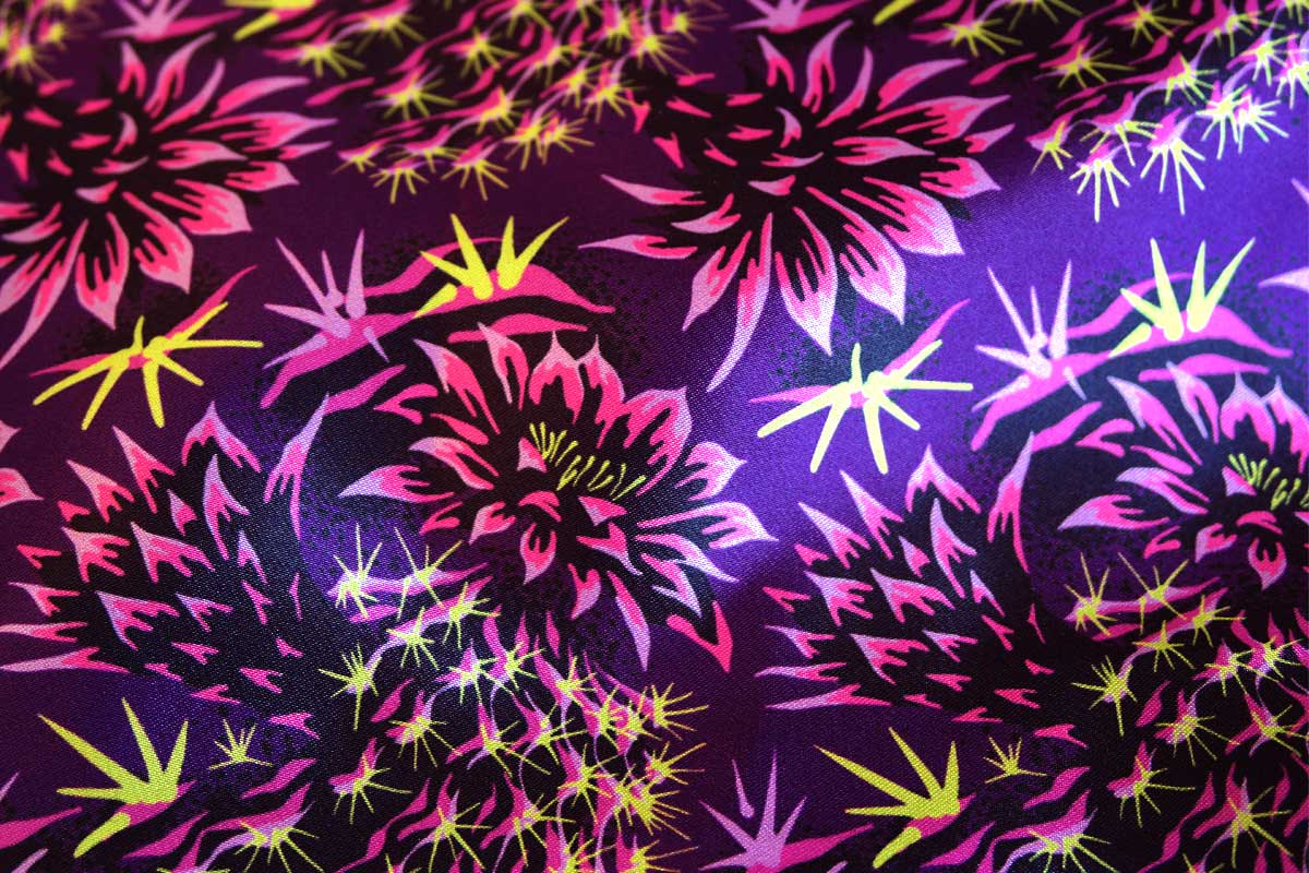 Cactus floral contemporary purple satin fabric by Andrea Stark