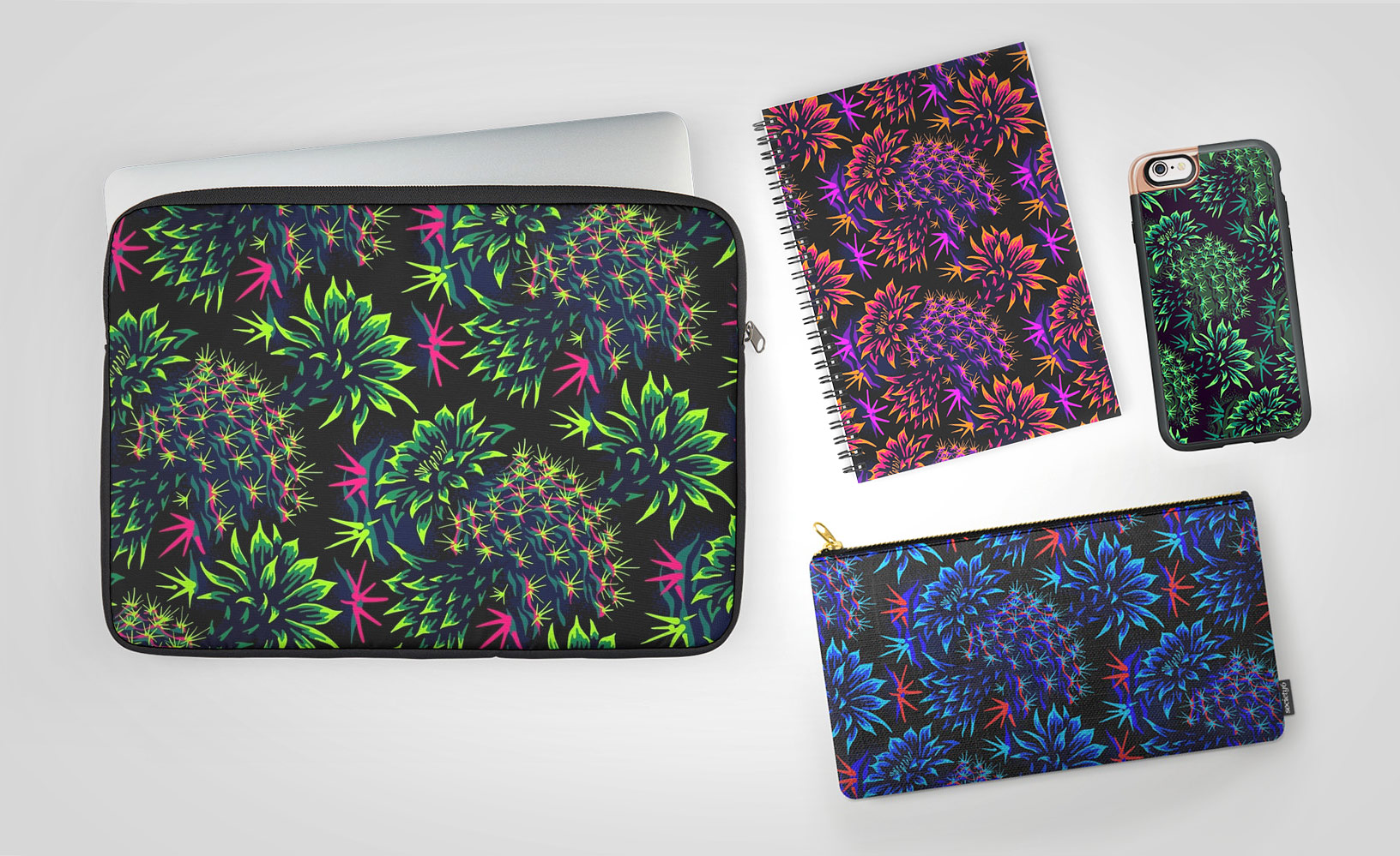 Cactus floral phone case, laptop sleeve, notebook by Andrea Stark