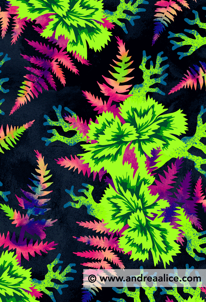 Coral Carnation Green & Purple floral pattern by Andrea Stark
