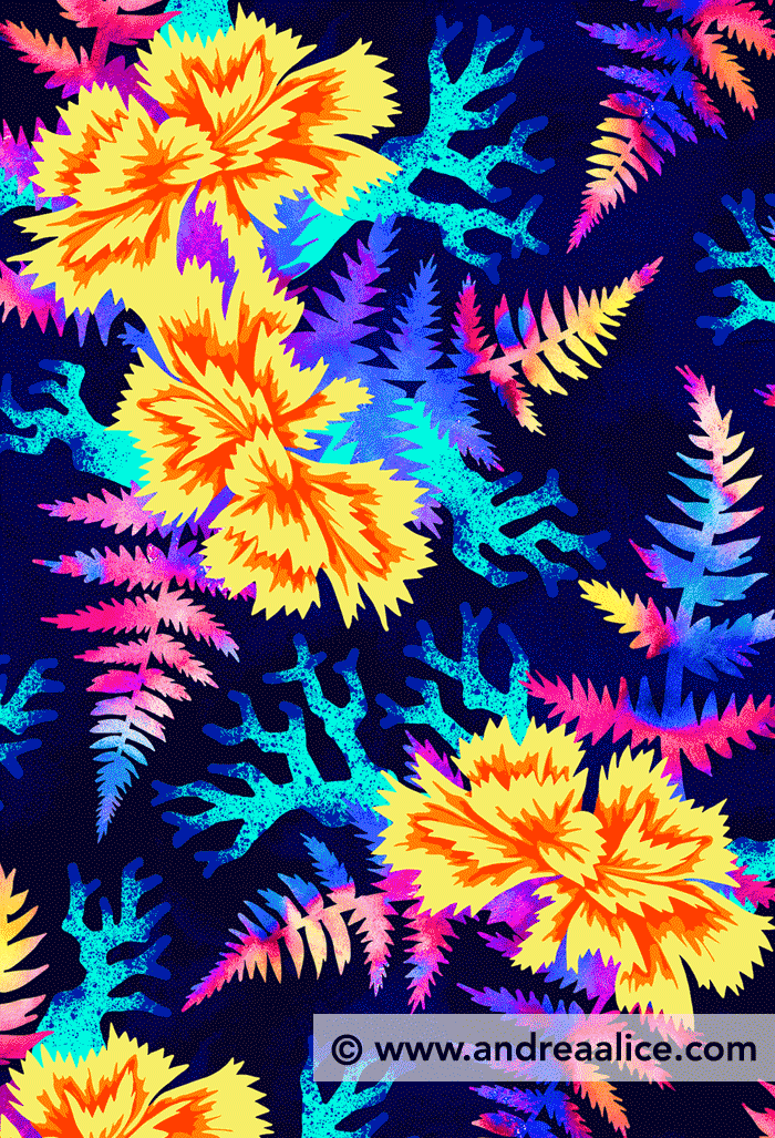 Coral Carnation Yellow & Blue floral pattern by Andrea Stark
