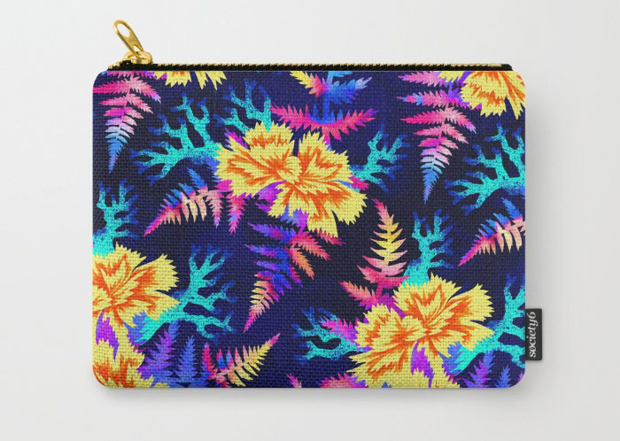 Coral Carnation floral zip purse