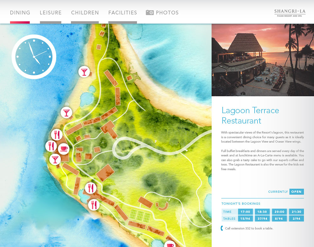 Fijian Resort map with Lagoon Terrace Restaurant