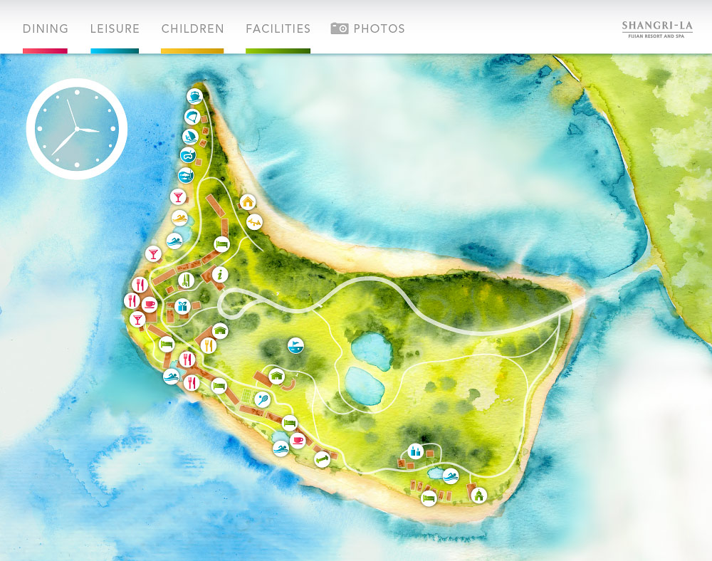 Water color Fijian Resort map