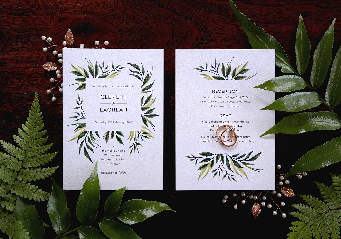 Greenery Wedding Invitations Andrea Muller Design Portfolio