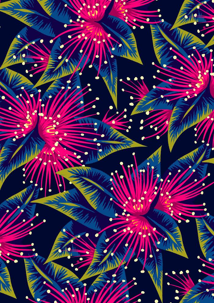 Dark Navy Floral Wallpaper